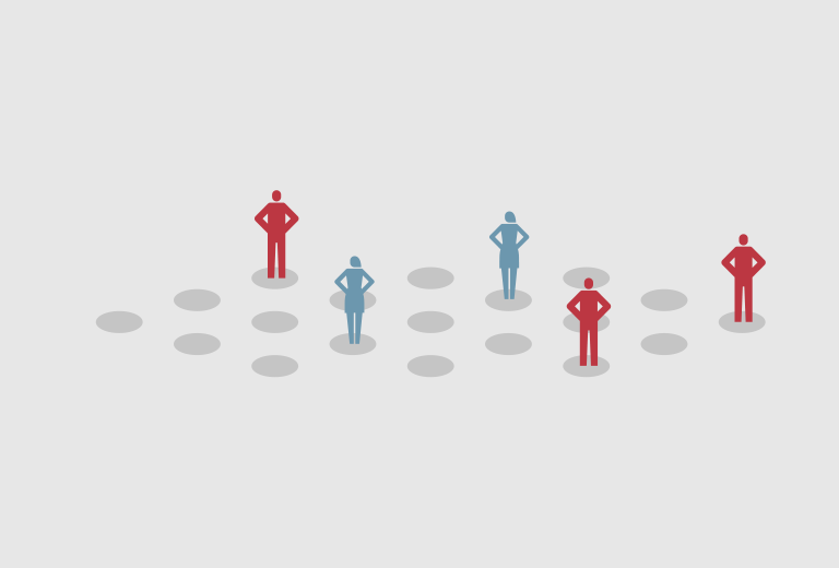 people illustration - red and blue people standing on dots