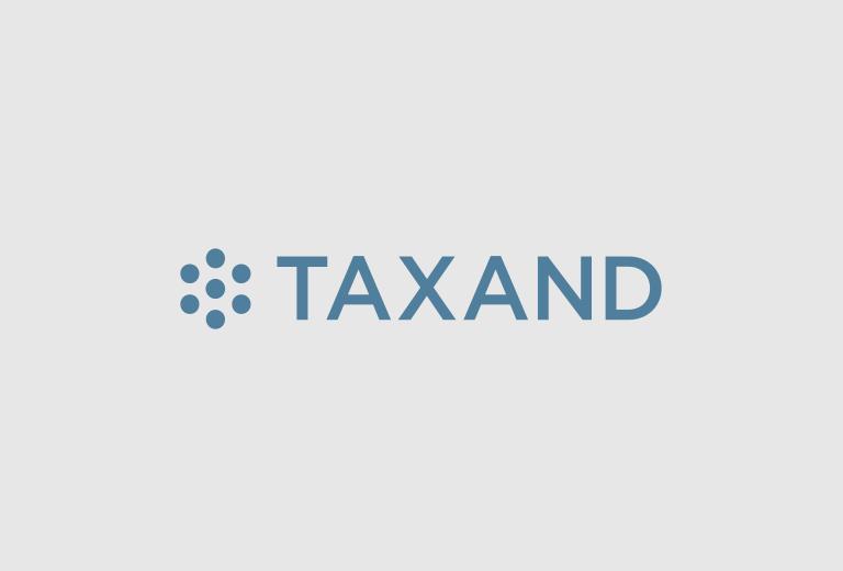 Taxand logo grey background blue text