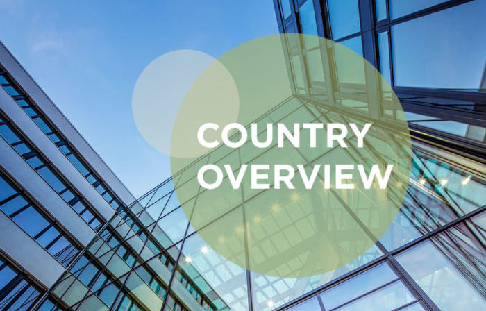 country overview text against glass landmark building